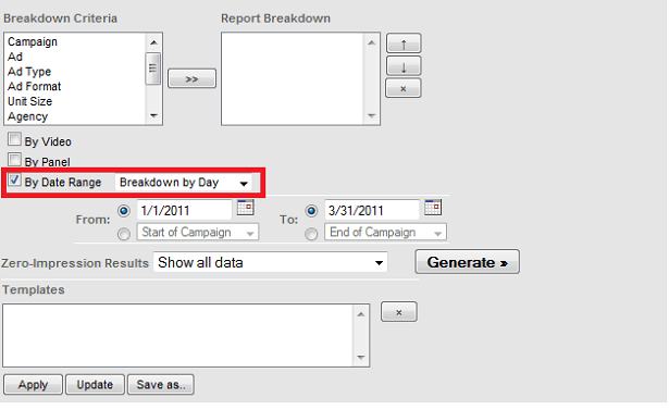 Creating a daily breakout in Eyewonder's Publisher Reporting Interface