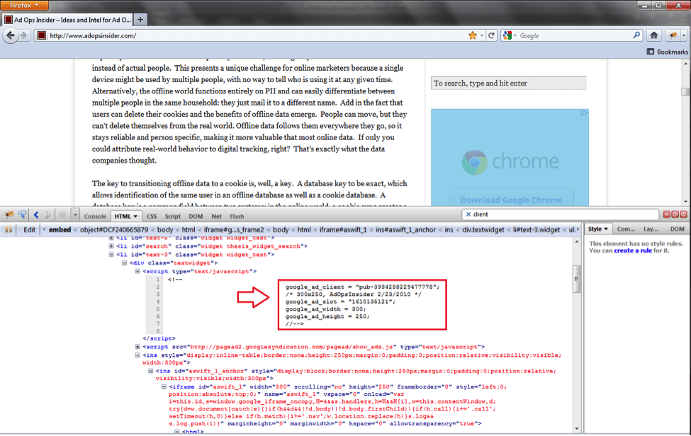 How to Trace An Ad With Firebug